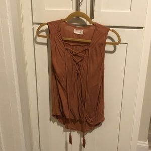 Lightly Worn Lace Up Tank Top in Burnt Orange